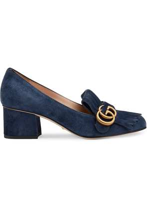 Gucci Suede mid-heel pump with Double G - Blue
