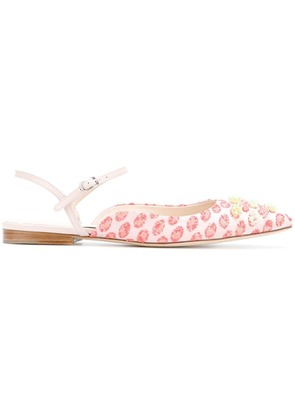 Delpozo embroidered pointed sandals - Pink