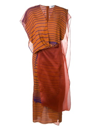 Chalayan layered organza striped dress - Brown