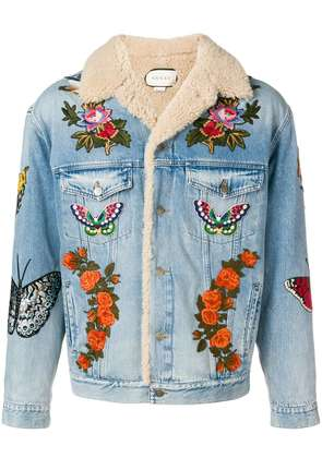 Gucci shearling lined embroidered denim jacket - Blue