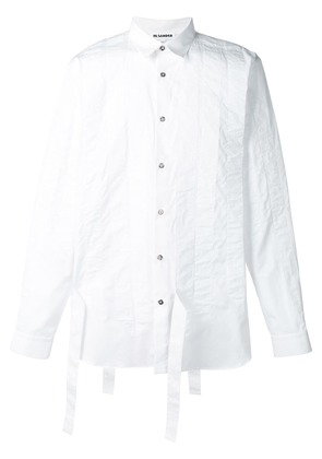 Jil Sander strap detail striped shirt - White