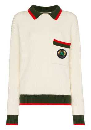 Burberry Olivine contrasting collar knitted jumper - Neutrals