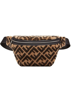 Fendi shearling logo belt bag - Neutrals