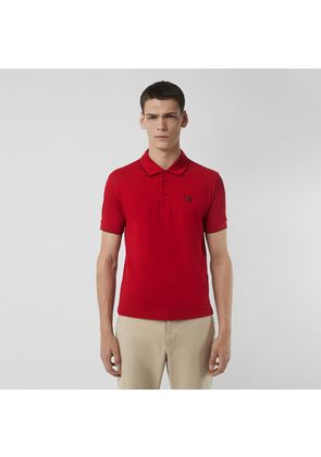 Burberry Tipped Cotton Piqué Polo Shirt, Red