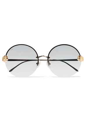 For Art's Sake - Goddess Round-frame Stainless Steel And Gold-tone Sunglasses - Silver