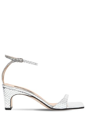60MM PYTHON EMBOSSED LEATHER SANDALS