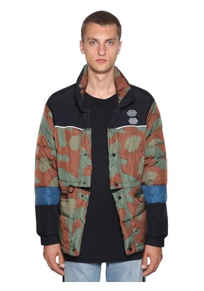 CAMOUFLAGE NYLON DOWN JACKET