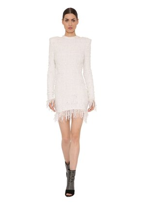 FRINGED TWEED DRESS
