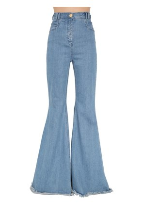 HIGH WAISTED FLARED COTTON DENIM PANTS
