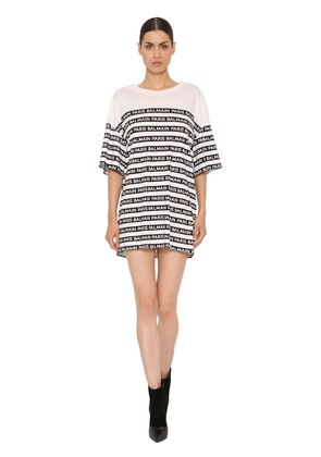 LOGO PRINT STRIPED COTTON JERSEY T-SHIRT