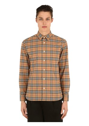 GEORGE CHECKED COTTON POPLIN SHIRT