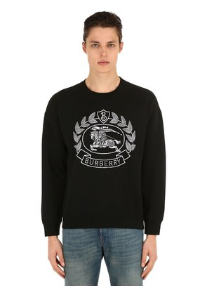 LOGO INTARSIA WOOL BLEND KNIT SWEATER