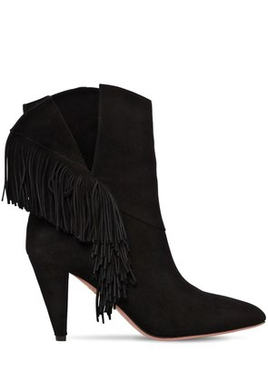 85MM WILD FRINGED SUEDE ANKLE BOOTS