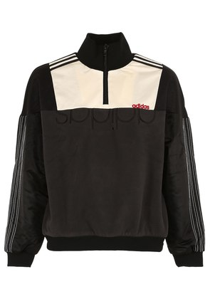 HALF ZIP NYLON & FLEECE SWEATSHIRT