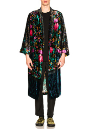 Pierre-Louis Mascia Kanpur Stampato Robe in Black,Floral,Pink,Green
