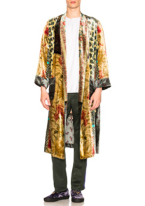 Pierre-Louis Mascia Kanpur Stampato Robe in Green,Floral,Neutral,Paisley,Red,Yellow