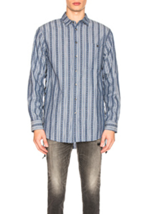 Alchemist Leather Lace Shirt in Blue,Stripes