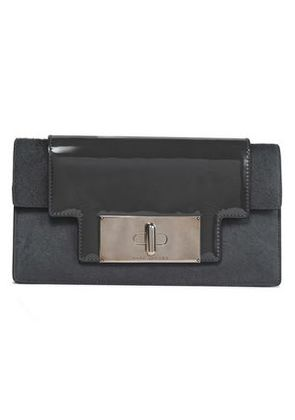 Marc Jacobs Woman Mischief Patent-leather And Calf Hair Clutch Dark Gray Size -