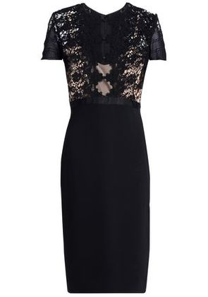 Catherine Deane Woman Crochet-paneled Tulle And Stretch-jersey Dress Black Size 6