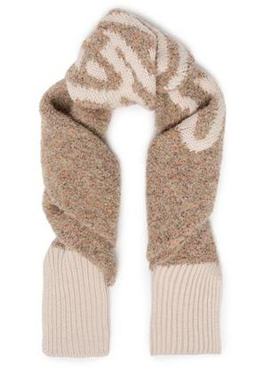 See By Chloé Woman Intarsia-knit Scarf Beige Size -