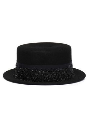 Maison Michel Woman Tinsel And Grosgrain-trimmed Wool-felt Fedora Black Size M