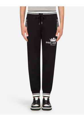 Dolce & Gabbana Trousers - COTTON JOGGING PANTS WITH PRINT BLACK