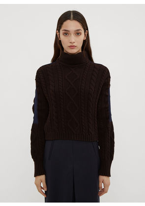 Atlein Cropped Cable Knit Sweater in Brown size FR - 36