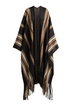 Isabel Marant - Striped Mohair Blend Poncho - Womens - Grey