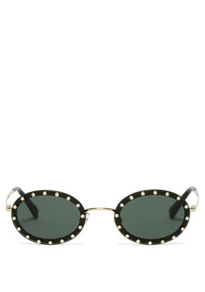 Valentino - Crystal Embellished Oval Frame Sunglasses - Womens - Black Silver