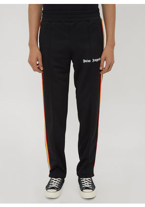Palm Angels Rainbow Stripe Track Pants in Black size XL