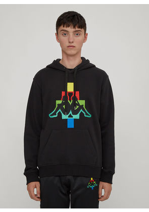 Marcelo Burlon X Kappa Hooded Multi-Coloured Embroidered Kappa Logo Sweatshirt in Black size M