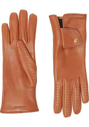 Burberry Cashmere-lined Lambskin Gloves - Brown