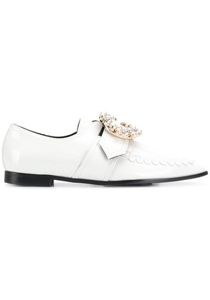 Suecomma Bonnie crystal buckled loafers - White