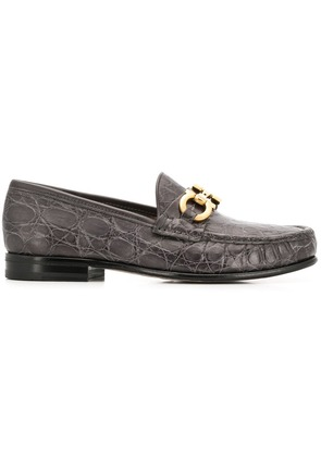Salvatore Ferragamo Bond croc-embossed loafers - Grey
