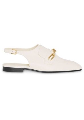 Burberry Link Detail Leather Slingback Loafers - White