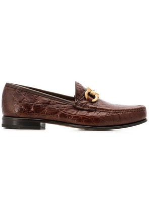 Salvatore Ferragamo Bond croc-embossed loafers - Brown