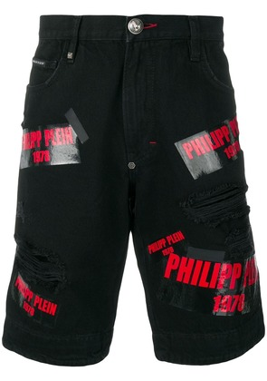 Philipp Plein multi logo denim shorts - Black