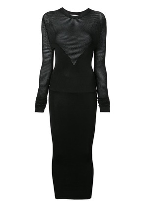 Fleur Du Mal Long Sleeve Knit Dress - Black