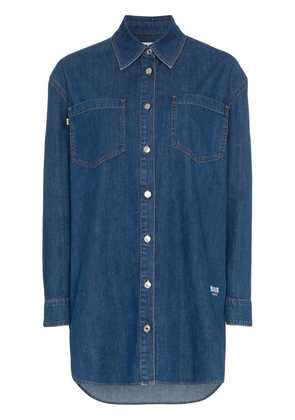 MSGM Denim Logo Print Shirt - Blue