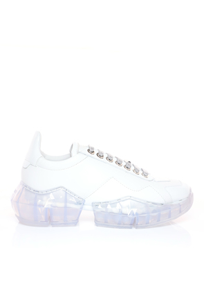 DIAMOND/F White Calf Leather with Patent Low Top Trainers