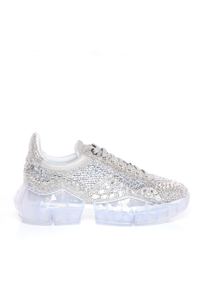 DIAMOND/F Crystal Shimmer Suede Low Top Trainers with Crystal Details