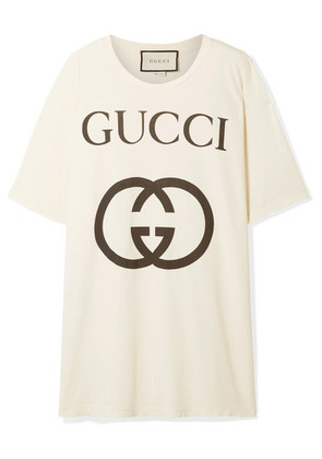 Gucci - Printed Cotton-jersey T-shirt - Ivory