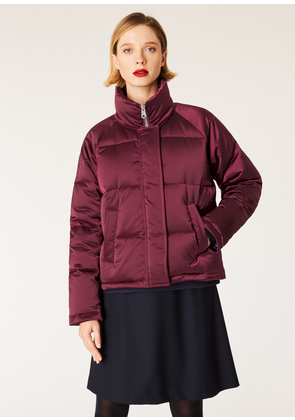 Women's Burgundy Satin Down-Filled Coat