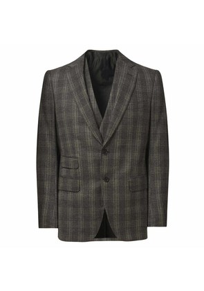 Cifonelli Grey Wool and Cashmere Windowpane Check Three Piece Suit