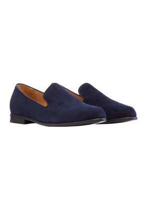 Duke & Dexter Navy Cotton Corduroy Loafer with Black Sole