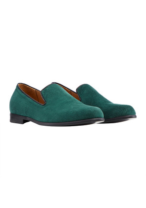 Duke & Dexter Green Cotton Corduroy Loafer with Black Sole