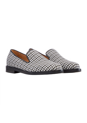 Duke & Dexter Black and White Wool Houndstooth Loafer with Black Sole