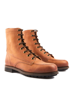 Barbanera Brown Waxed Leather Work Boots with Rubber Sole