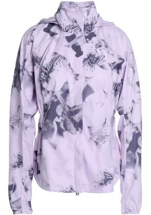 Adidas Woman Printed Stretch Hooded Jacket Baby Pink Size S