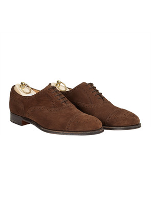 New & Lingwood Dark Brown Calf Suede Half Brogue Shoes
